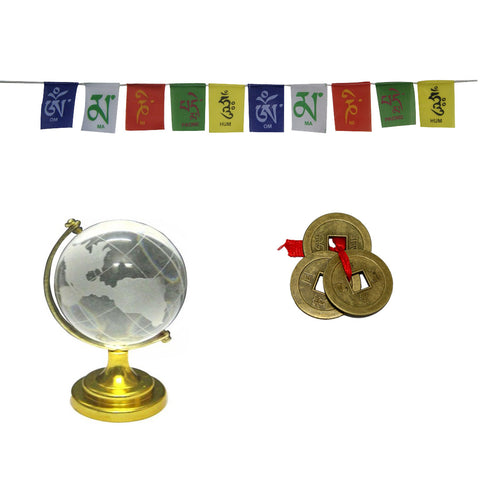 Divya Mantra Feng Shui Combo Of Prayer Flag For Bike, Crystal Globe and Three Lucky Coins - Divya Mantra