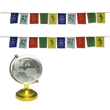 Divya Mantra Combo Of Two Prayer Flags For Bike and Feng Shui Crystal Globe - Divya Mantra
