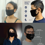 WOOP Face Mask, Washable Reusable Black Face Masks For Germ Protection, Skin Care Filter Germs Acne Unisex Facemask, Handmade Cotton Made in India, Nose to Chin Mud & Pollution Dust Cover  - SET OF 3 - Divya Mantra
