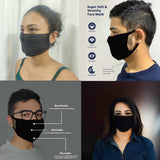 WOOP Face Mask, Washable Reusable Black Face Masks For Germ Protection, Skin Care Filter Germs Acne Unisex Facemask, Handmade Cotton Made in India, Nose to Chin Mud & Pollution Dust Cover  - SET OF 5