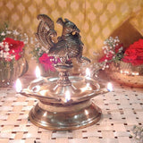 Indian Diwali Oil Lamp Pooja Diya Brass Light Puja Decorations Mandir Decoration Items Handmade Table Home Backdrop Decor Lamps Made in India Decorative Wicks Diyas Deep Laxmi Deepam Deepak - Golden