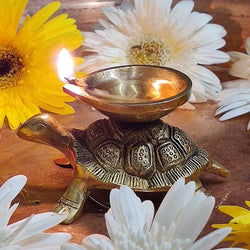 Indian Diwali Oil Lamp Pooja Diya Brass Light Puja Decorations Mandir Decoration Items Handmade Table Home Backdrop Decor Lamps Made in India Decorative Wicks Diyas Deep Laxmi Deepam Deepak - Golden - Divya Mantra