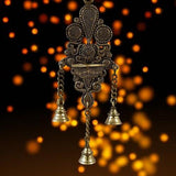 Indian Diwali Oil Lamp Pooja Diya Brass Light Puja Decorations Mandir Decoration Items Handmade Home Backdrop Decor Lamps Made in India Decorative Wicks Diyas Wall Hanging 3 Bells Thooku Vilakku -Gold