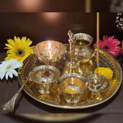 Decorative Pooja Thali Set Brass Decor Mandir Ethnic Puja Items  Bhog Plate For Indian Festivals Diwali Navratri Ganesh Chaturthi Teej Sri Laxmi Durga Radha Krishna Shiva Hanuman Sai Pujan (L) - Gold