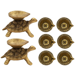 Divya Mantra Indian Diwali Oil Lamp Pooja Diya Brass Light Puja Decorations Mandir Items Handmade Home Decor Made in India Decorative Wicks Fortune Tortoise Turtle Deep Swastik Laxmi Set Of 8 - Gold