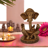 Ganesh ji Idol For Home Puja Room Decor Pooja Mandir Decoration Items Living Room Showpiece Decorations Office Ganesha Temple Murti Idol God Statue Brass Ganpati Stylish Show Pieces -Gold - Divya Mantra