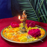 Deep Laxmi Indian Diwali Oil Lamp Pooja Diya Brass Light Puja Decorations Mandir Decoration Items Handmade Home Backdrop Decor Lamps Made India Decorative Wicks Diyas Deepam Vilakku -Gold - Divya Mantra
