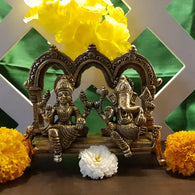 Laxmi Ganesh Idol For Home Puja Room Decor Pooja Mandir Decoration Items Living Room Showpiece Decorations Office Lakshmi Ganesha Temple Murti Idol God Statue Brass Interior Show Pieces - Golden - Divya Mantra