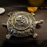 Brass Tortoise Home Decor Vastu Yantra Ganesh Turtle Good Luck Decoration Showpiece Metal Statue Feng Shui Lucky Items Wish Fulfillment Ganesha Office Charm Item Kachuwa Indian Handicraft - Gold - Divya Mantra