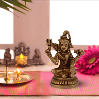 Shiva Idol For Home Puja Room Decor Pooja Mandir Decoration Items Living Room Showpiece Decorations Office Sri Shiv Temple Murti Idol God Statue Brass Mahadev Stylish Show Pieces -Gold - Divya Mantra