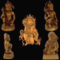 Divya Mantra Sri Hanuman Idol Home Temple Decor Mandir Room Decoration Accessories Indian Hindu Pooja Murti Bajrang Bali Holding Mace God Brass Statue Puja Articles Interior Decorative Showpiece -Gold - Divya Mantra