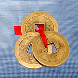 Divya Mantra Combo Of Feng Shui Buddha Good Luck Card Gold and Three Lucky Chinese Coins - Divya Mantra