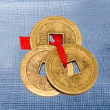 Divya Mantra Hindu Lucky Symbol Swastik Pure Brass Wall Hanging For Vastu and Good Luck and Three Chinese Coins For Luck - Divya Mantra