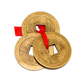 Divya Mantra Feng Shui Chinese Lucky Fortune I-Ching Coin Ornaments Wealth Charm Amulet Three Bronze Metal Coins with Hole and Red Ribbon Knot for Good Money Luck, Decoration Charms Set of 5 – Golden - Divya Mantra