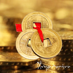Divya Mantra Feng Shui Chinese Lucky Fortune I-Ching Coin Ornaments Wealth Charm Amulet Three Bronze Metal Coins with Hole and Red Ribbon Knot for Good Money Luck, Prosperity Decoration Charms – Brown - Divya Mantra