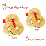 Divya Mantra Feng Shui Chinese Lucky Fortune I-Ching Coin Ornaments Wealth Charm Amulet Three Bronze Metal Coins with Hole and Red Ribbon Knot for Good Money Luck, Decoration Charms Set of 7 – Golden - Divya Mantra