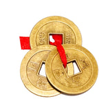 Divya Mantra Feng Shui Chinese Lucky Fortune I-Ching Coin Ornaments Wealth Charm Amulet Three Bronze Metal Coins with Hole and Red Ribbon Knot for Good Money Luck, Decoration Charms Set of 10 – Golden - Divya Mantra
