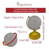 Divya Mantra Feng Shui Crystal Rotating 5 cm Globe with Educational Earth Texture Map for Students, Kids, Home, Office, Table Decoration - Career, Financial, Business Luck, Gift Item / Product - Clear