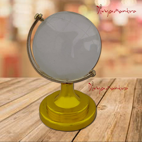 Divya Mantra Feng Shui Crystal Rotating 5 cm Globe with Educational Earth Texture Map for Students, Kids, Home, Office, Table Decoration - Career, Financial, Business Luck, Gift Item / Product - Clear - Divya Mantra
