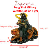Divya Mantra Feng Shui Military Wealth God on Tiger Holding Gold Ingot and Vajra For Business Success and Financial Luck