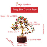 Divya Mantra Feng Shui Natural Multicolor Healing Gemstone Crystal Bonsai Fortune Tree for Good Luck, Wealth & Prosperity-Home Office Table Decor - Divya Mantra