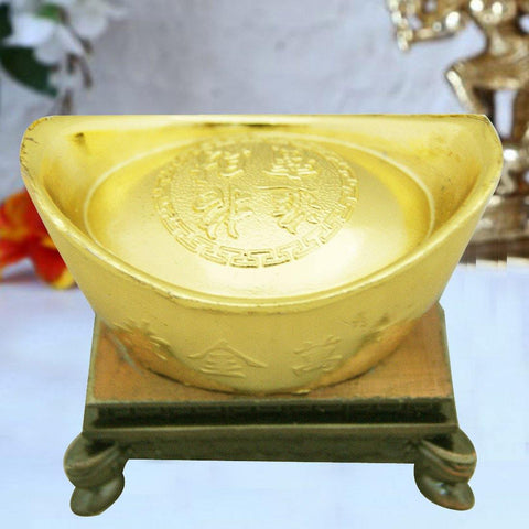 Divya Mantra Feng Shui Golden Wealth Ingot With Stand Showpiece Home Decor