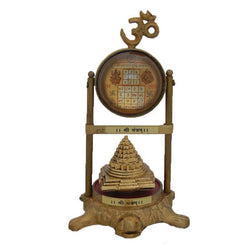 Divya Mantra Meru Shree Yantra on Tortoise with Vyapar Vriddhi Yantra and Om - Divya Mantra