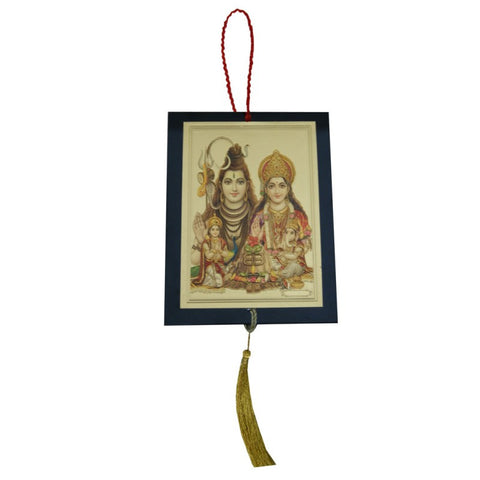 Divya Mantra Sri Shiv Parivar Talisman Gift Pendant Amulet for Car Rear View Mirror Decor Ornament Accessories/Good Luck Charm Protection Interior Wall Hanging Showpiece - Divya Mantra