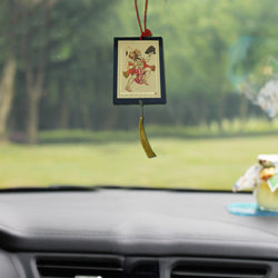 Divya Mantra Sri Hanuman Talisman Gift Pendant Amulet for Car Rear View Mirror Decor Ornament Accessories/Good Luck Charm Protection Interior Wall Hanging Showpiece - Divya Mantra