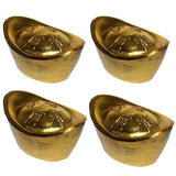 Divya Mantra Set of 4 Beautiful Golden Ingots for Wealth and Good Luck