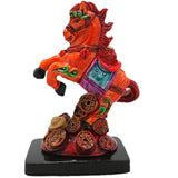 Divya Mantra Feng Shui Galloping / Running Orange Horse on Bed of Wealth For Fame Recognition, Power, Prestige and Good Luck - Divya Mantra