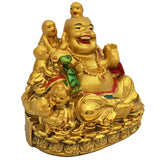Divya Mantra Happy Man Laughing Buddha Holding Ru Yi and Sitting with 5 Kids / Five Children For Attracting Happiness in Family, Descendant Luck