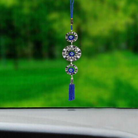 Divya Mantra Car Decoration Rear View Mirror Hanging Accessories Feng Shui Evil Eye Hanging with Three Rings - Divya Mantra