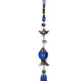 Divya Mantra Decorative Evil Eye Fish Feng Shui Ingot Pendant Amulet for Car Rear View Mirror Decor Ornament Accessories/Good Luck Charm Protection Interior Wall Hanging Showpiece - Blue, Set of 2 - Divya Mantra