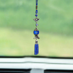Divya Mantra Car Decoration Rear View Mirror Hanging Accessories Evil Eye Amulet Feng Shui Ingot & Fish - Divya Mantra