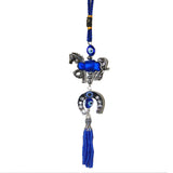 Divya Mantra Decorative Evil Eye Horse Shoe Pendant Amulet for Car Rear View Mirror Decor Ornament Accessories/Good Luck Charm Protection Interior Wall Hanging Showpiece - Blue, Set of 2 - Divya Mantra