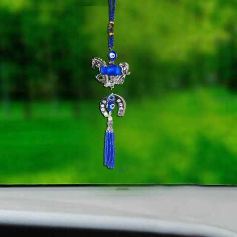 Divya Mantra Car Decoration Rear View Mirror Hanging Accessories Evil Eye with Horse Shoe Protection Amulet - Divya Mantra