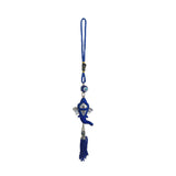 Divya Mantra Sri Ganesha Evil Eye Home Decor Turkish Hamsa Greek Car Rear View Mirror Accessories, Wall Hanging, Kitchen Decoration Ornament Nazar Battu Amulet Charm Talisman Protection Good Luck-Blue - Divya Mantra