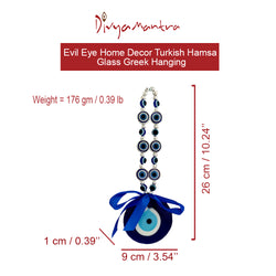 Divya Mantra Evil Eye Home Decor Turkish Hamsa Glass Greek Wall Hanging Home, Kitchen Decoration Ornament Nazar Battu Boncugu Amulet Talisman Devil Eyes Protection, Good Luck Protection Charm - Blue - Divya Mantra
