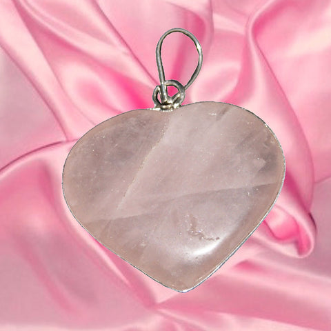 Divya Mantra Rose Quartz Heart Pendant