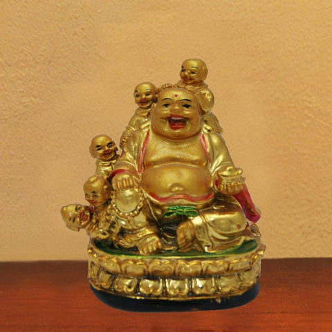 Divya Mantra Feng Shui Laughing Buddha With 5 Children-3.5""