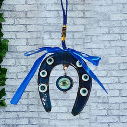 Divya Mantra Car Decoration Rear View Mirror Hanging Accessories Feng Shui Blue Evil Eye Horse Shoe - Divya Mantra