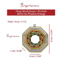 Divya Mantra Feng Shui Bagua Mirror Convex for positive energy-9X9 Cm - Divya Mantra
