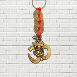Divya Mantra Combo Of Orange Flying Hanuman Car Mirror Hanging and Om Ganesha Three Lucky Coins Keychain - Divya Mantra