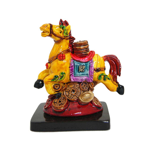 Divya Mantra Feng Shui Galloping / Running Yellow Horse on Bed of Wealth For Fame Recognition, Power, Prestige and Good Luck