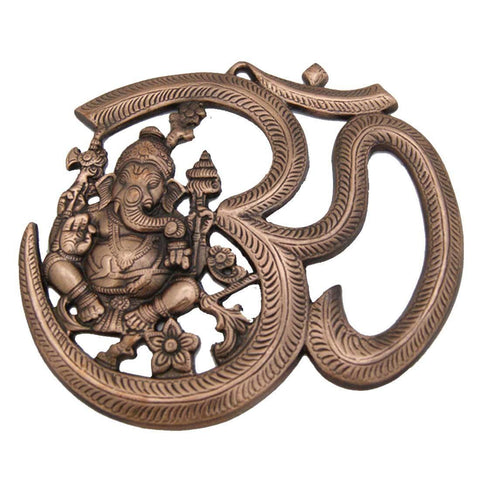 Divya Mantra Om and Ganesha Wall Decorative Antique Finish