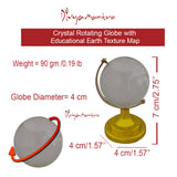 Divya Mantra Feng Shui Crystal Rotating 4 cm Globe with Educational Earth Texture Map for Students, Kids, Home, Office, Table Decoration - Career, Financial, Business Luck, Gift Item / Product - Clear - Divya Mantra