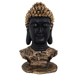 Grand 17 Inches Buddha Head Beautiful Antique Gold & Black - Divya Mantra