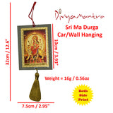 Divya Mantra Sri Ma Durga Talisman Gift Pendant Amulet for Car Rear View Mirror Decor Ornament Accessories/Good Luck Charm Protection Interior Wall Hanging Showpiece - Divya Mantra