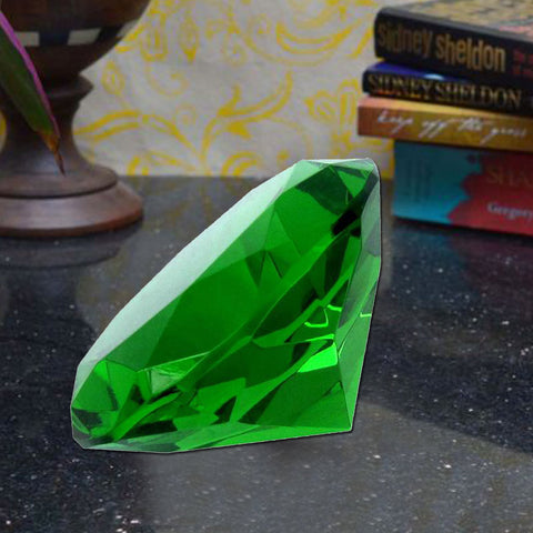 Divya Mantra Feng Shui Crystal Diamond Green Showpiece - Divya Mantra